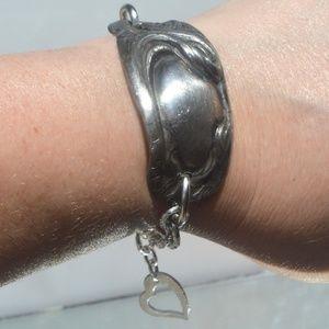 Antique Silverplated Cuff Bracelet Handmade Heart